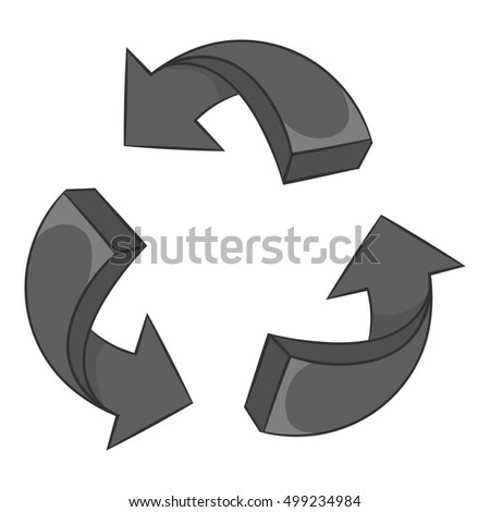 Three circular arrows icon in black monochrome style isolated on white background. Click and choice symbol  illustration