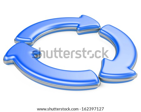 Three circular arrows. Recycle symbol isolated on white. 3D Arrows icon.
