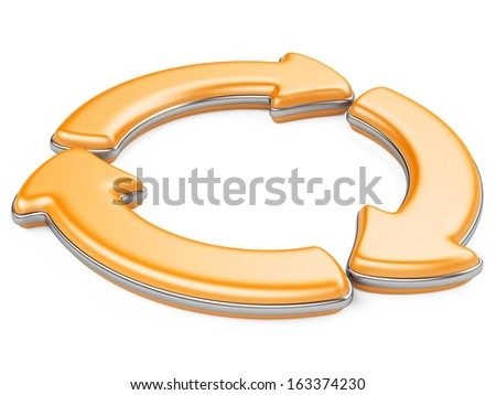 Three circular arrows. Recycle symbol isolated on white. 3D Arrows icon.  - stock photo