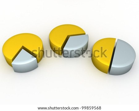 Three circular chart of gold and silver - stock photo
