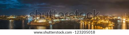 Three Cities (Vittoriosa, Senglea and Cospicua) waterfront as seen from Valletta, Malta - stock photo