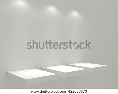 Three clean white shelves on the white wall. White stand for your design mock up. The blank platform under the object for intention. With three light sources. High resolution 3d illustration