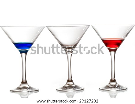 three cocktail glass