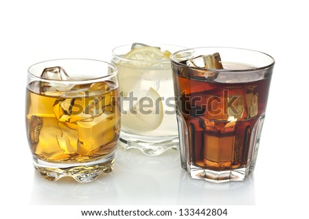 three cocktails on a white background