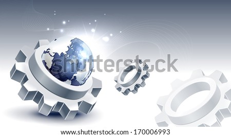 Three cogs and the planet Earth float in front of a grey background.