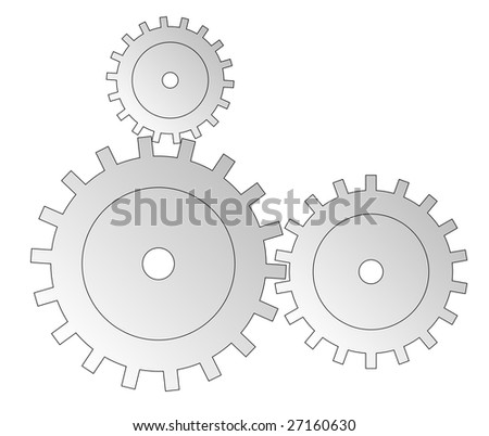 Three cogwheels. All isolated on white background.