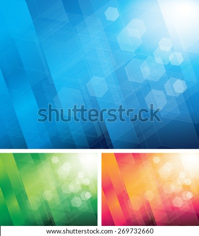 Three color abstract backgrounds.  - stock photo