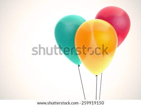 Three color balloons on white background, best fir gift card template - stock photo