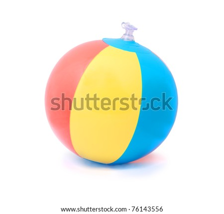 Three-color beach ball isolated on pure white background - stock photo