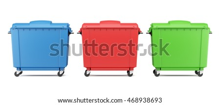 three color garbage containers isolated on white background. 3d illustration