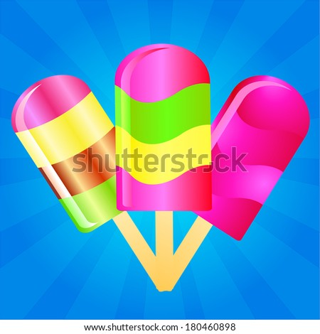 three color Ice cream lollies on the blue phone with rays - stock photo