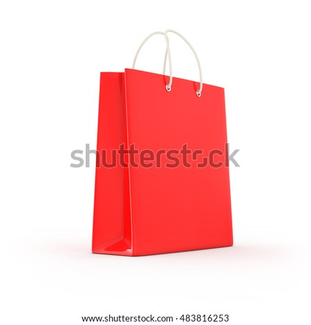Three color shopping bag isolated. Shopping concept 3d rendering.