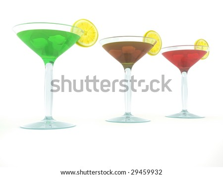 Three colored cocktail in wineglasses on white background
