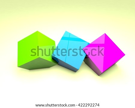 Three 3 colored cubes abstract wallpaper  3d design rendering