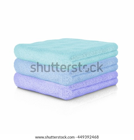 Three colored folded towels. Close up. 3d Rendering.