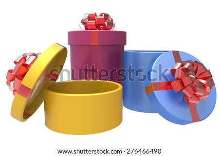 three colored gift boxes with shiny red bowknots - stock photo
