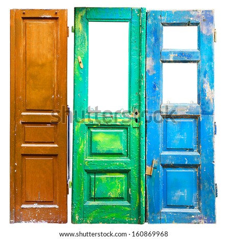 Three colored old wooden doors background - stock photo