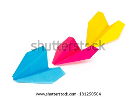 Three colored paper planes