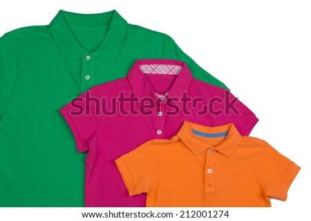 Three colored polo shirt close-up. Isolate on white. - stock photo
