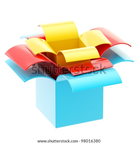 Three colorful gift boxes one inside another isolated on white - stock photo