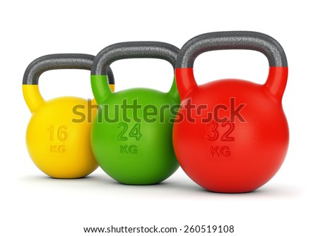Three colorful gym kettle bells with different weight numbers isolated on white background. Fitness, sport training and lifting concept. - stock photo