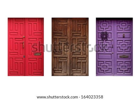 three colorful mexican doors isolated on white background - stock photo