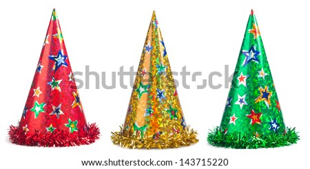 Three colorful party hats collage on a white background - stock photo