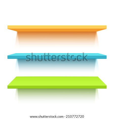 Three colorful realistic shelves isolated on white background - stock photo