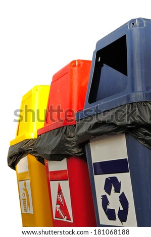 Three colorful recycle bins isolated on white background.  - stock photo