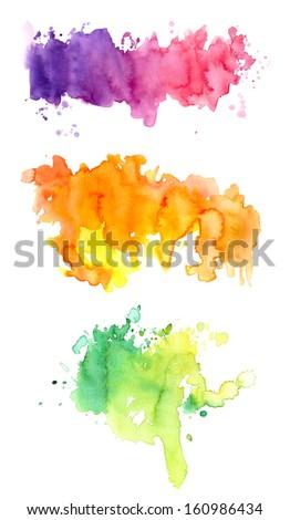 Three colorful watercolors - stock photo