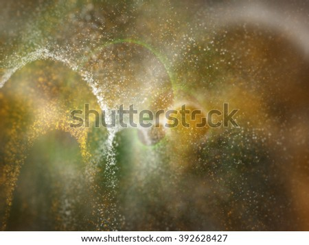 three colors orange, white and green particles for web or wallpaper background