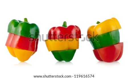 Three colors Paprika isolated on white