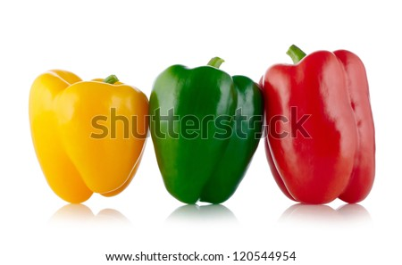 Three colors Paprika isolated on white - stock photo