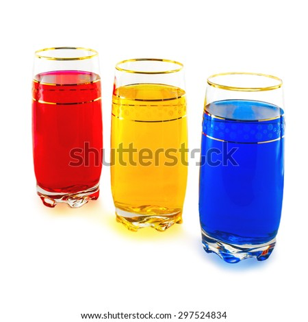 three colors, red, yellow, blue, white background - stock photo