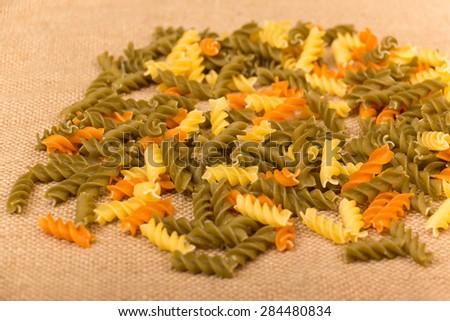 Three Colors Rotini Pasta - stock photo