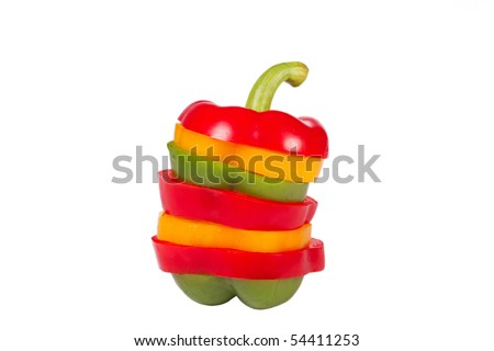 Three component color bulgarian pepper - stock photo