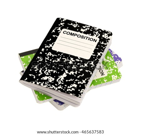 Three composition notebooks on a white background.