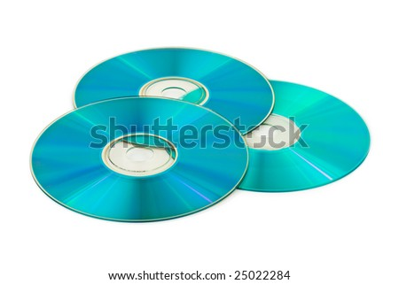 Three computer disks isolated on white background - stock photo