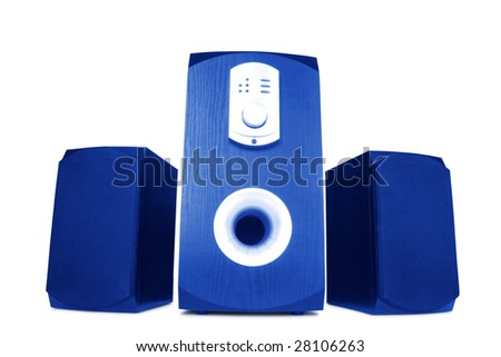 three computer speakers with built in amplifier isolated on white - stock photo