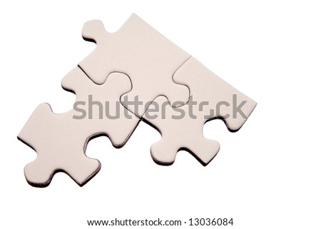 Three connected jigsaw puzzle pieces isolated on white background - stock photo