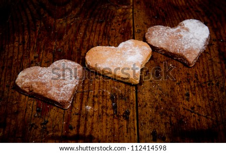 three cookies in the form of heart - stock photo