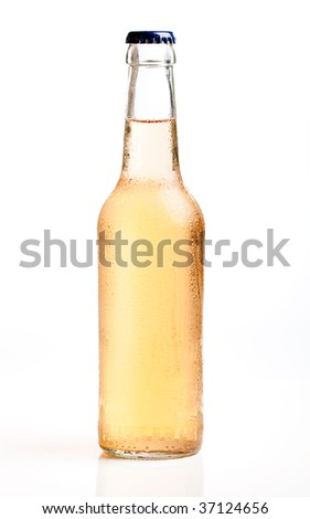 Three cool bottles of fresh beverages - stock photo