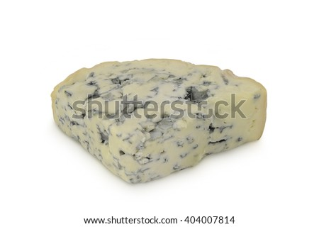 Three-cornered piece of blue cheese (Fourme d'Ambert) isolated on white background