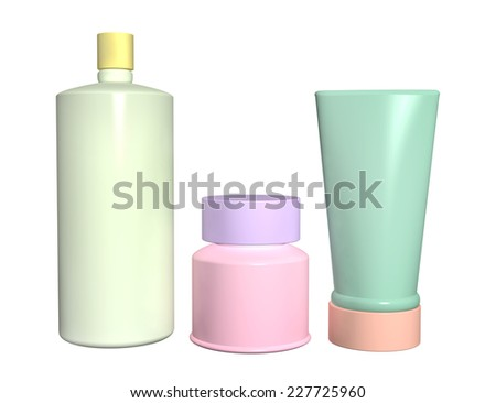 Three cosmetic 3d tubes of different colors. Objects isolated on white background - stock photo