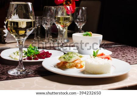 three-course dinner in the cafe - stock photo
