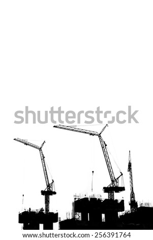 Three cranes building construction on white isolated. Three cranes building construction. - stock photo