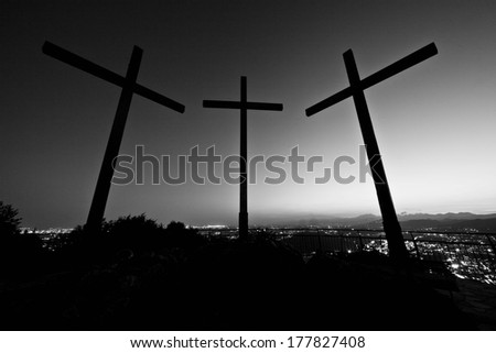 three crosses below the lighthouse of brunate on lake como brunate - stock photo