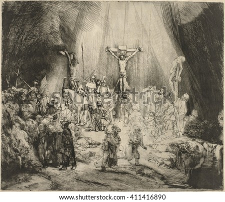 Three Crosses, by Rembrandt van Rijn, 1633-53, Dutch print, engraving, drypoint. This is a second state of a copperplate drypoint engraving, the artist developed through several versions. Through the - stock photo