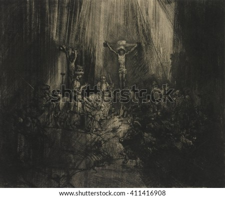 Three Crosses, by Rembrandt van Rijn, 1633-53, Dutch print, engraving, drypoint. This is the fifth and final state of a copperplate drypoint engraving, the artist developed through several versions. - stock photo