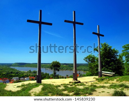 Three Crosses' Hill in Kazimierz Dolny, Poland - Christian Crosses - stock photo